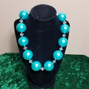 Handmade Blue and Crystal Beaded Necklace